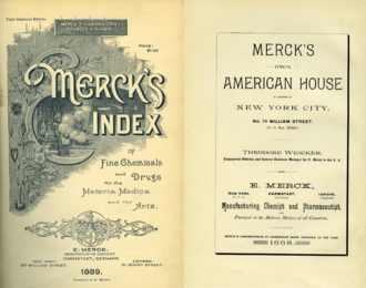 Merck Index - First issue, titled Merck's Index