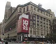 The Macy's flagship department store in New York City with its famous brownstone at 34th and Broadway.