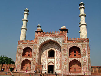 Akbar's tomb - Akbar's Tomb of external entrance from the road, built to imitate the Buland Darwaza at Fatehpur Sikri, the city, Akbar founded