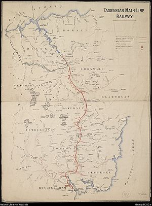 Andrew Inglis Clark - Map of the Mainline Railway, circa 1880
