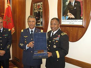 Royal Moroccan Air Force - General Ahmed Boutaleb (left) during a meeting with Brigadier General Robert Ferrell, March 2010