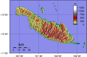 Makira - Topographical map of Makira