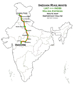 Malwa Express (Indore - Jammu Tawi) Route map.png