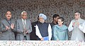 Manmohan Singh laying the foundation stone of 850 MW Ratle Hydro-electric Project, at Kishtwar, in Jammu and Kashmir. The Chairperson, National Advisory Council, Smt. Sonia Gandhi, the Governor of Jammu and Kashmir (1).jpg