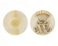 Manschettknappar av elfeben med monogram, 1870 - Hallwylska museet - 110557.tif