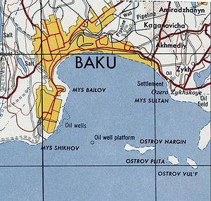 Baku Archipelago - Nargin Island, Vulf Island, etc. on a topographic map. (U.S. Army Map Service) 1954
