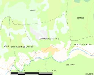 Colombières-sur-Orb - Map