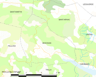 Ansignan - Map of Ansignan and its surrounding communes