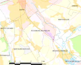 Mapa obce Rouxmesnil-Bouteilles