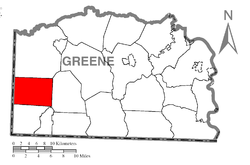 Location of Aleppo Township in Greene County