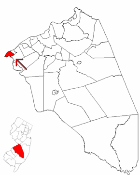Map of Burlington County highlighting Palmyra.png