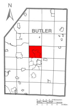 Map of Butler County, Pennsylvania highlighting Center Township