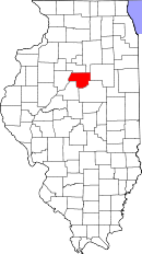 Map of Illinois highlighting Woodford County