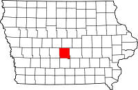 Map of Iowa highlighting Polk County