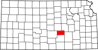Map of Kansas highlighting Harvey County