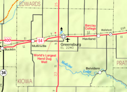 KDOT map of Kiowa County (legend)