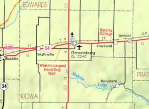 Kiowa County, Kansas - Image: Map of Kiowa Co, Ks, USA