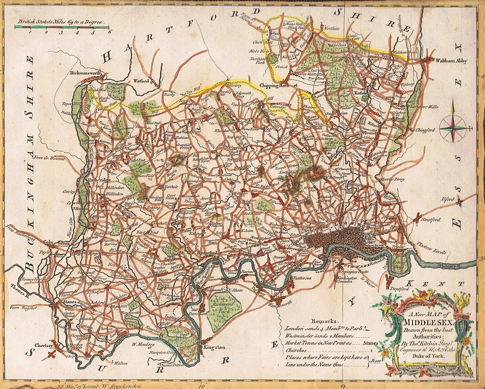 Map of Middlesex, drawn by Thomas Kitchin, geographer, 1769