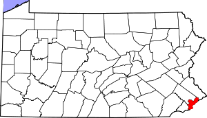 Map of Pennsylvania highlighting Philadelphia ...