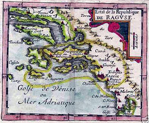 Republic of Ragusa - Old map of the Republic of Ragusa, dated 1678