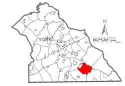 Map of York County, Pennsylvania highlighting East Hopewell Township