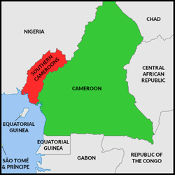 Territory claimed by Ambazonia      Undisputed Cameroonian territory