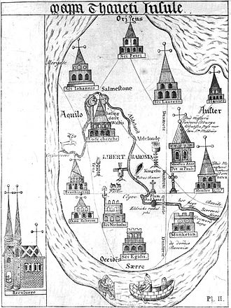 Isle of Thanet - Adaptation of a 15th-century map of the Isle of Thanet, with north on the left: Thomas Elmham, Historia Monasterii S Augustini Cantuariensis