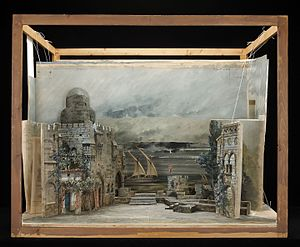Theatrical scenery - 1895 set design model by Marcel Jambon for Act I of Giuseppe Verdi's Otello for a production in Paris.