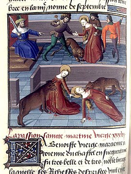Den hellige Marcianas martyrium, fransk manuskript fra 1400-tallet