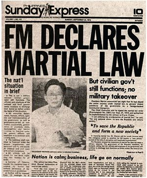 "Juan Ponce Enrile - ""FM Declares Martial Law""—the headline of the September 24, 1972 issue of the Sunday Express, which was the Sunday edition of Philippines Daily Express. The Daily Express was the only newspaper allowed to circulate upon the declaration of Martial Law"