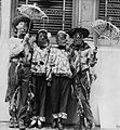 Mardi Gras revelers in costume inspired by both Japanese and scarecrow motives in New Orleans Louisiana in the 1930s.jpg