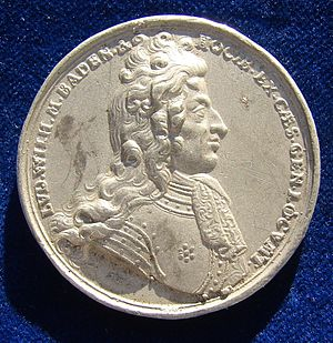 Louis William, Margrave of Baden-Baden - The portrait of Türkenlouis in 1691, on a medallion by Georg Hautsch celebrating the victory against the Ottoman Empire at Slankamen, obverse.