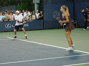 Igor Andreev - Andreev with his doubles partner Maria Kirilenko at the US Open