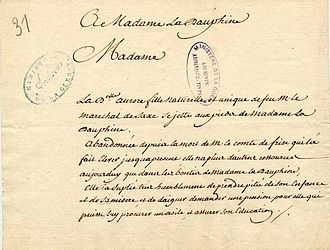 Marie-Aurore de Saxe - Petition sent in the name of Marie-Aurore to the Dauphine, born Maria Josepha of Saxony, 1755.