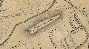 Ursuline Convent riots - Old map of Somerville showing the convent ruins marked on Benedict Hill, formerly located between Broadway and the Middlesex Canal