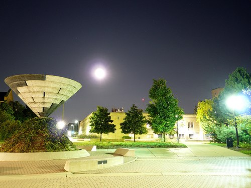 Martin Luther King, Jr Memorial Commons at night