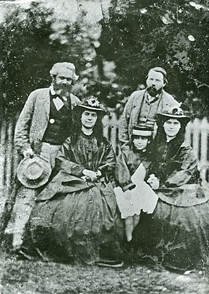 Eleanor Marx - Eleanor Marx (middle) with her two sisters - Jenny Longuet, Laura Marx, father Karl Marx and Friedrich Engels