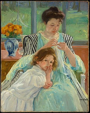 English: Mary Cassatt: Young mother sewing