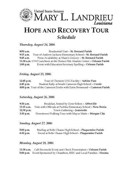 File:Mary Landrieu Hope and Recovery Tour Schedule.pdf