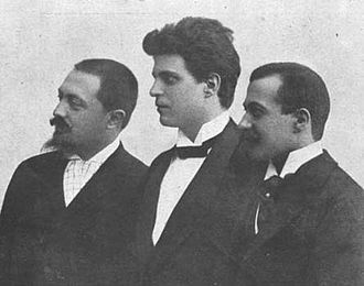 Libretto - The composer of Cavalleria rusticana, Pietro Mascagni, flanked by his librettists, Giovanni Targioni-Tozzetti and Guido Menasci