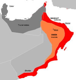 The Sultanate of Muscat was a maritime empire during the 18th Century, which in 1820 unified with the Imamate of Oman to form the Sultanate of Muscat and Oman.