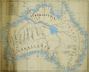 Inland sea (geology) - This 1827 map of Australia depicts a 'Great River' and a 'Supposed Sea' that both proved nonexistent.