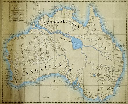 This 1830 map of Australia depicts a 'Great River' and a 'Supposed Sea' that both proved nonexistent. Maslens Inland Sea of Australia.jpg