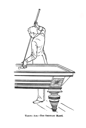 Cue sports techniques - Illustration of a player performing a massé shot.