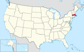 Map of the United States with Massachusetts highlighted