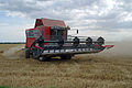 Massey Ferguson Cerea combining Thorney's Field in New Holland, England 2.jpg