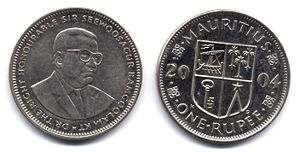 English: Republic of Mauritius 1 Rupee coin Es...