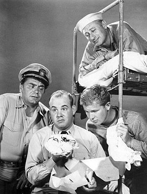 Gary Vinson - Ernest Borgnine, Tim Conway, Vinson and Carl Ballantine in the 1962–66 ABC World War II sitcom McHale's Navy.