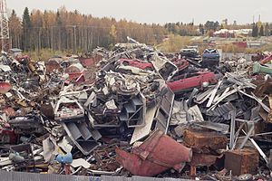 Scrapped cars and other metal scrap in Rusko, ...
