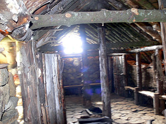 Icelandic turf house - Interior of a reconstructed turf house in Fljótshlíð